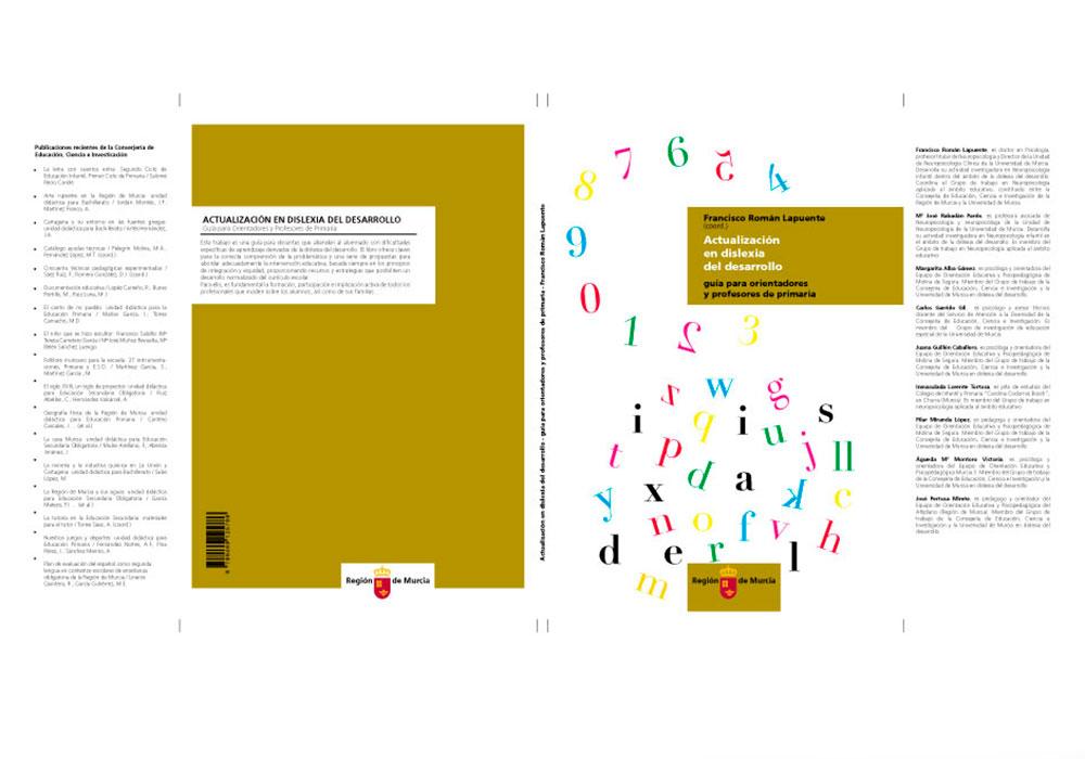 """estudio de diseño grafico en murcia, Diseño de tapa del libro """"Actualización en dislexia del desarrollo"""""""