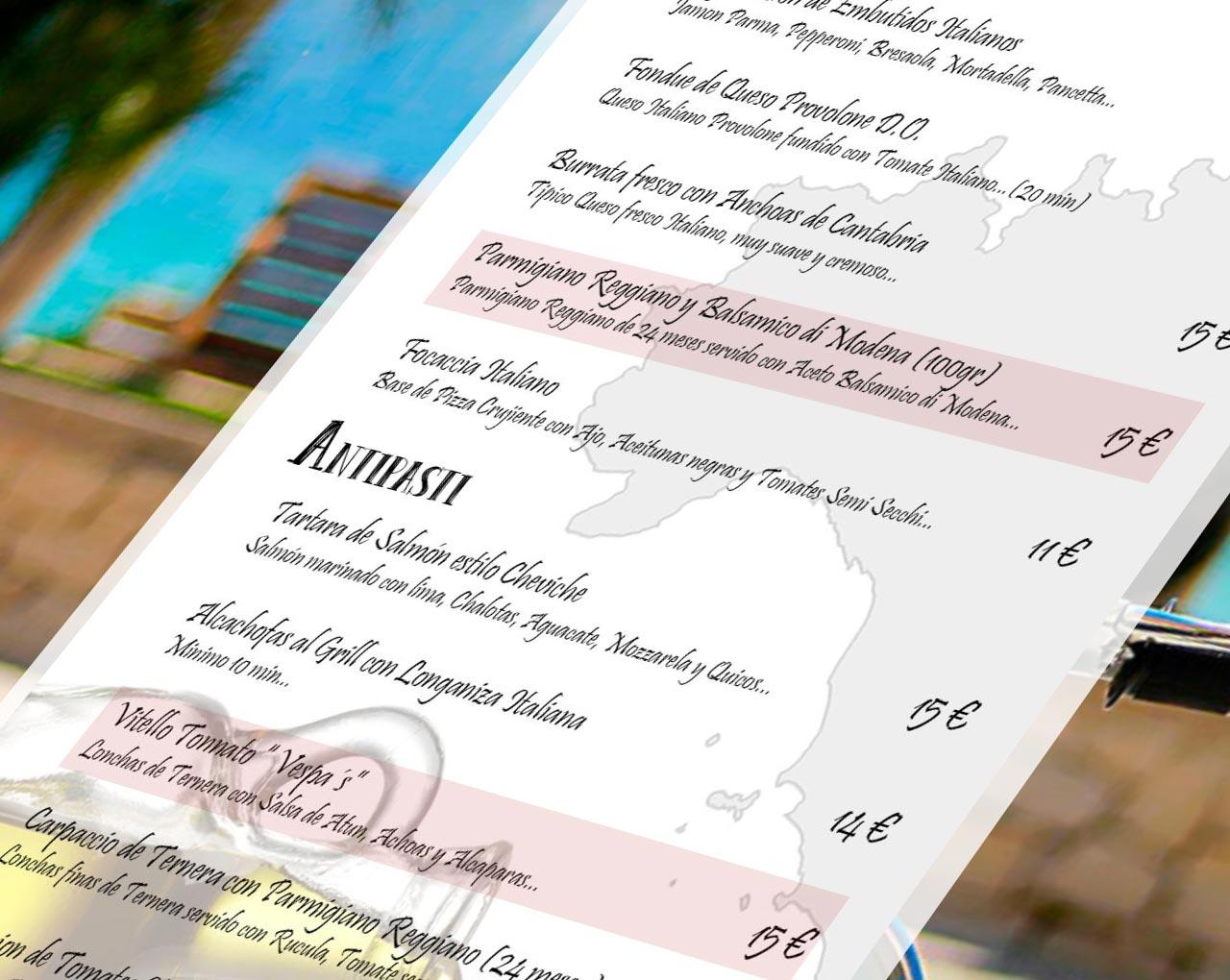 estudio de diseño grafico y web en murcia, restaurante vespa
